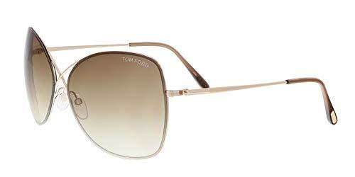 (Tom Ford Colette Sunglasses-28F Shiny Rose Gold (Gradient Brown Lens)-63mm)