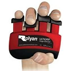 Rolyan 568685 Ultigrip Finger Exercisers, Red, 3-Pounds, Finger & Grip Strengthener for Physical Therapy, Ergonomic Hand Workout Aid, Portable Hand Exerciser