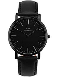 Zeiger New Mens Women Fashion Casual Business Black Dial Analog Quartz Watch with Leather Band ( (Mens Casual Watch Black Dial)