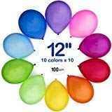 WinkyBoom Balloons Assorted Color 12 Inch 110 Pcs Premium Quality Latex For Birthday Party Decoration