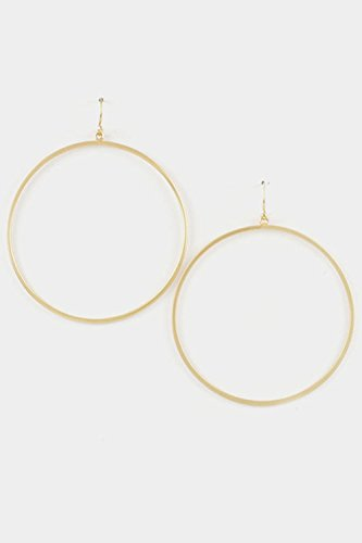 [Karmas Canvas Circle Wire Hoop Dangle Earring (Matted Gold)] (Dia Dangle Earrings)