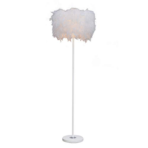 Copper Feather Floor Lamp - Sheer Shade Feather Floor Lamp,Stand Light for Bedroom Living Room,Simple Modern Style (Dimming Switch,E27 Lamp Holder)