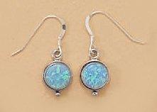 8.5mm Synthetic Blue Opal Hangs 26.5mm Sterling Silver French Wire Earrings