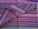 (SHORT HEADWRAP Scarf Hair Tie Turban Fabric Hand Woven Cotton Jeweltone Stripes on Fuschia Hot Pink)