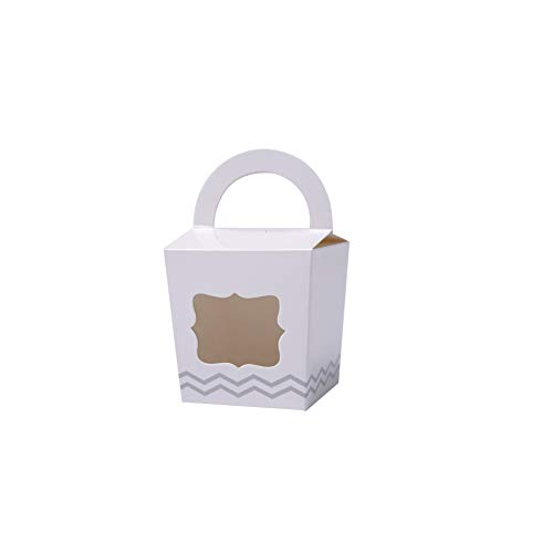 ONE MORE Single Cupcake Box Of Handle With PVC Window 24 Of Pack (White)