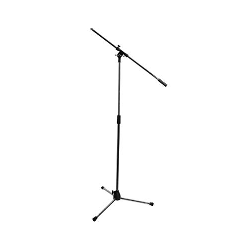MIYAKO Microphone Stand Tripod Style with Elegant Nickel Plated Finish - Chrome Microphone Boom Stand (Silver Mic Stand)