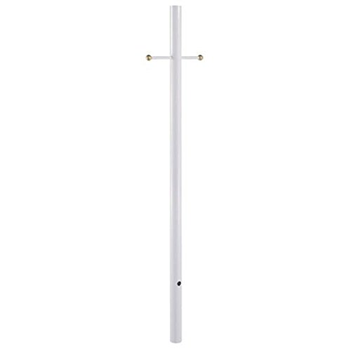 Acclaim 96WH Direct-Burial Lamp Posts Collection Smooth Lamp Post with Crossarm, 7', Gloss White