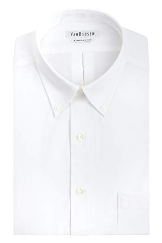 Van Heusen Men's Pinpoint Regular Fit Solid Button Down Collar Dress Shirt, White, 16.5' Neck 34'-35' Sleeve