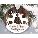 rfy9u7 Twin Babies First Christmas Ornament, Personalized Christmas Ornaments, Fawns Ornament, Two Kids Deer Ornament, Rustic Faux Fake Wood