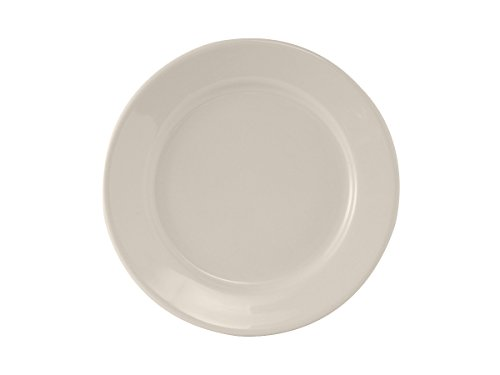 Shell Round Platter (Tuxton TRE-007 Vitrified China Reno Plate, Wide Rim, Rolled Edge, 7-1/8
