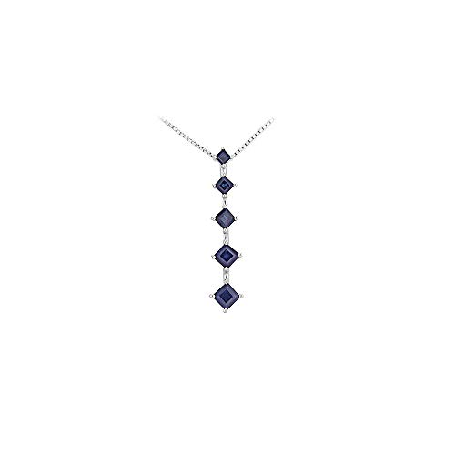 (Created Sapphire Journey Pendant 14K White gold 1.50 CT TGW)