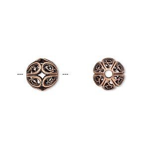 Bead antique copper-plated brass 9mm filigree round