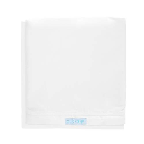 QuickZip Crib Extra Zip-On Sheet (SecureFit Wraparound Base Not Included) - Faster, Safer, Easier Baby Crib Sheets - White 100% Cotton - Fits All Standard Crib Mattresses Clouds & Stars Quick Zip