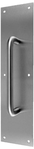 Don-Jo 7121 Pull Plate with 1'' Round Pull, Satin Stainless Steel Finish, 4'' Width x 16'' Height by Don-Jo