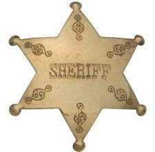 Costume Badge Brass Sheriff Old West Prop -