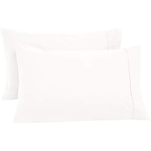 All Cotton Pillowcases - AmazonBasics Ultra-Soft Cotton Pillow Cases - King, Set of 2, White