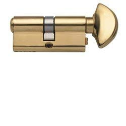 Rockwell 90 Degree Solid Brass Euro Profile Cylinder Lock in Polished Brass, fits 1-3/4 inch thick doors.