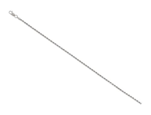 Sterling Silver .925 Diamond Cut 040 Gauge Rhodium Plated Rope Chain (16