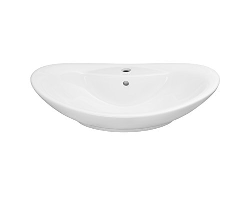 RONBOW ESSENTIALS Ellipse 26 Inch Oval Ceramic Vessel Bathroom Sink in White 200223-WH (Ronbow Ceramic Oval)