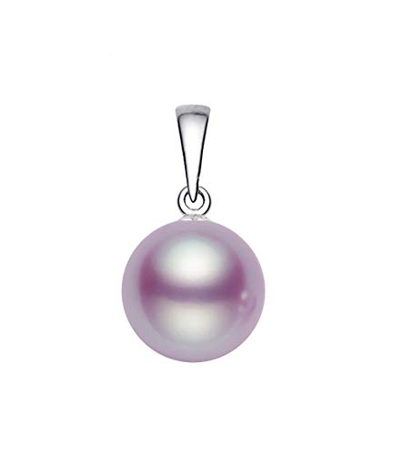 - 14k White Gold AAAA Quality Lavender Freshwater Cultured Pearl Pendant (9-9.5mm)