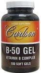Карлсон Лабс B-50 Гель, Витамин B Комплекс (Carlson Labs B-50 Gel, Vitamin B Complex), 100 мягких таблеток