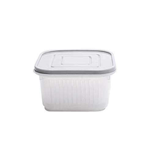 (Fairly decorative-boxes Creative Round Drain Sealed Box for Ginger Garlic Onion Refrigerator Crisper Debris Fridge Storage Box Tray Kitchen Organizer,13.5x13.5x7.5cm,Gray,United States)