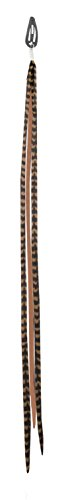 Mia Clip-n-Faux Feathers, Animal Friendly, Pretty, Thin, Fake Hair Feathers That Clip On, Beautiful Brown, 13 Inches Long, For Women and Girls 1pc