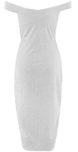 Les Femmes Coolred Au Large Épaule Dos Nu Robe De Soirée Solide Robe De Cocktail Blanc