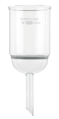 Chemglass CG-1402-L-05 Series CG-1402-L Buchner Filter Funnel, Extra Capacity, 100 mm Height, 80 mm Coarse Frit, 465 mL Capacity