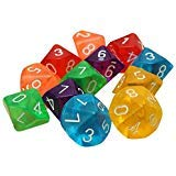 Dices - TOOGOO(R)10-Dices D10 Ten Sided Gem Dice Die for RPG Dungeons&Dragons Board Table Games Transparent Multicolor