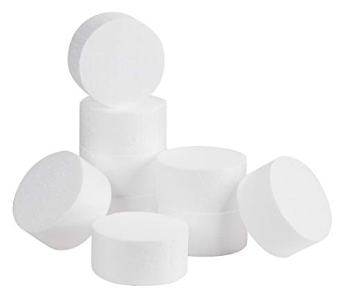 Craft Foam Circle - 9-Pack Polystyrene Foam Disc, Round Foam for Sculpture, Modeling, DIY Arts and Crafts, Kids Class, Floral Arrangement, White, 4 x 4 x 2 Inches