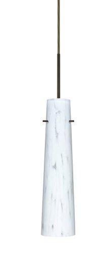 - Besa Lighting 1BC-567419-BR 1X50W E12 Camino Pendant with Carrera Glass, Bronze Finish