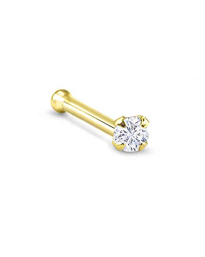 14k Yellow Gold Nose Bone 5.5mm Post 2.5mm Round CZ 18G ()
