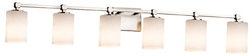 Justice Design Group Lighting FSN-8426-10-OPAL-CROM-LED6-4200 Fusion Tetra LED 6-Light Bath Bar Finish with Artisan Glass Opal-Cylinder with Flat Rim Shade, Polished Chrome Crom 6 Light Fusion