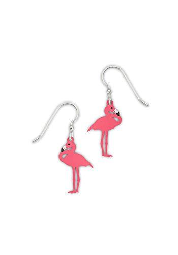 Etched Brass Dangle Earrings (Flamingo) ()