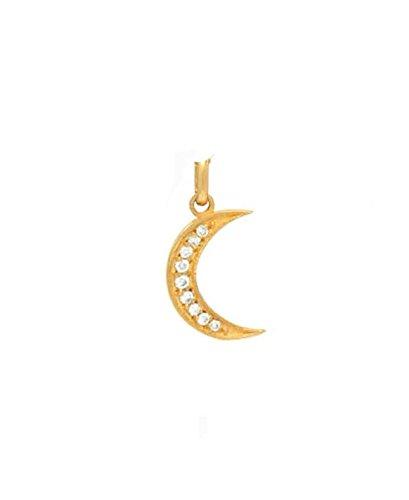 14k gold diamond moon pendant, Zoe Lev Jewelry by Zoe Lev Jewelry