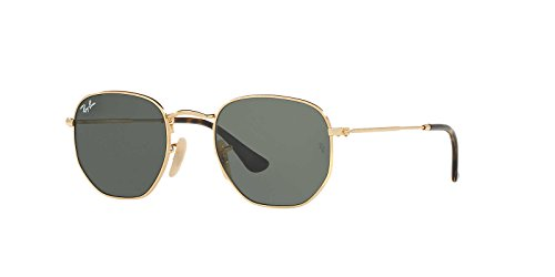 Ray-Ban Mens Flat Lens Sunglasses, Gold/Green, One Size