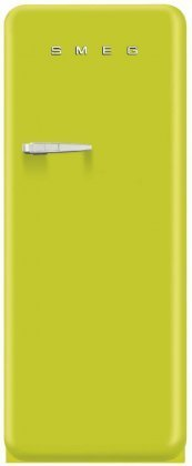 Smeg FAB28ULIR1 24'' 50s Retro Style Top-Freezer Refrigerator with 9.22 Cu. Ft. Capacity Ice Compartment Interior Light Adjustable Glass Shelves and Bottle Storage in Lime Green: Right by Smeg