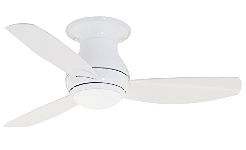 Emerson, CF144LWW Curva Sky 44-inch Indoor/Outdoor Ceiling Fan, 3-Blade Ceiling Fan with LED Lighting and 6-Speed Remote Control ()