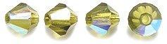 Preciosa 4mm Czech Crystal Diamond/Bicone Bead, Olivine Aurora Borealis, 144-Piece Shipwreck Beads 82CC583