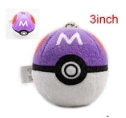 """Pokemon Master Ball Toy 3"""" keychain plush"""