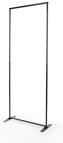 Displays2go Black Finish Steel Banner Stand Displays Signs 36 x 94 Inches, Height Adjustable, Sturdy Base, Lightweight Design (BS3694BK3) (George Best Height Weight)