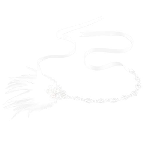 SM SunniMix Wedding Feather Headband 1920s Flapper Great Gatsby Rhinestones Headpieces Halloween - White]()