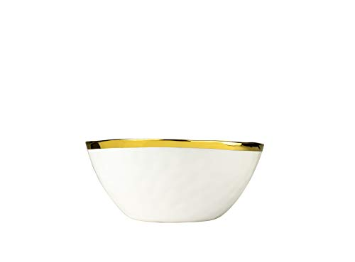 Yedi YCC682, 9'' Porcelain Salad Bowl, New Bown China Collection Dinnerware, Ceramic Soup Bowl with Gold Rim, Unique Mixing Basin, Fruit Vase 9' Rim Soup Dish