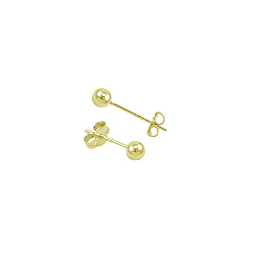 Waldenn 14k Gold Filled Polish Classic Ball Stud Earrings -Choose Your Size | Model ERRNGS - 13214 | - Crislu Emerald Earrings