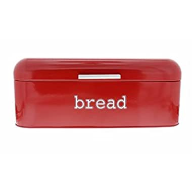 Red Stainless Steel Vintage Bread Box for Kitchen Storage - 16.75 x 9 x6.5 inches