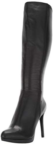 Nine West Women's QUIZME Leather Knee High Boot Black, 8.5 M US