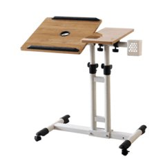 Laptop Table Rolling Adjustable Computer Desk Portable with Wheels for Home Office