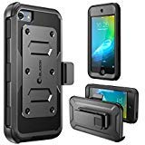 iPod Touch 6th Generation Case, [Heave Duty] i-Blason Apple iTouch 5/6 Case Armorbox [Dual Layer] Hybrid Fullbody Case w Front Cover and Builtin Screen Protector/Impact Resistant Bumper (Black)