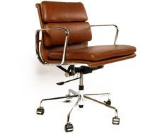 vintage office chair. Eames EA217 Inspired Low Back Soft Pad Vintage Brown Leather Office Chair